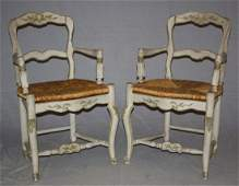 Pair of French Provincial ladder back armchairs