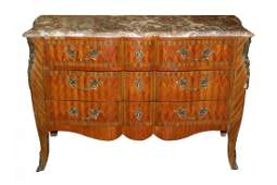 French Louis XV marquetry chest of drawers