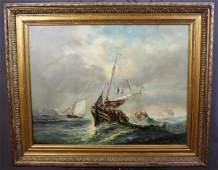 19th century O/C seascape signed L Ducrecq