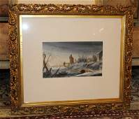 Original watercolor on paper winter landscape