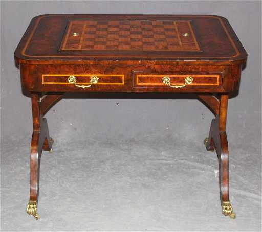 Maitland smith inlaid mahogany game table with brass gumiabroncs Choice Image