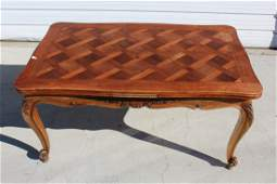 French Louis XV drawleaf table with parquet top