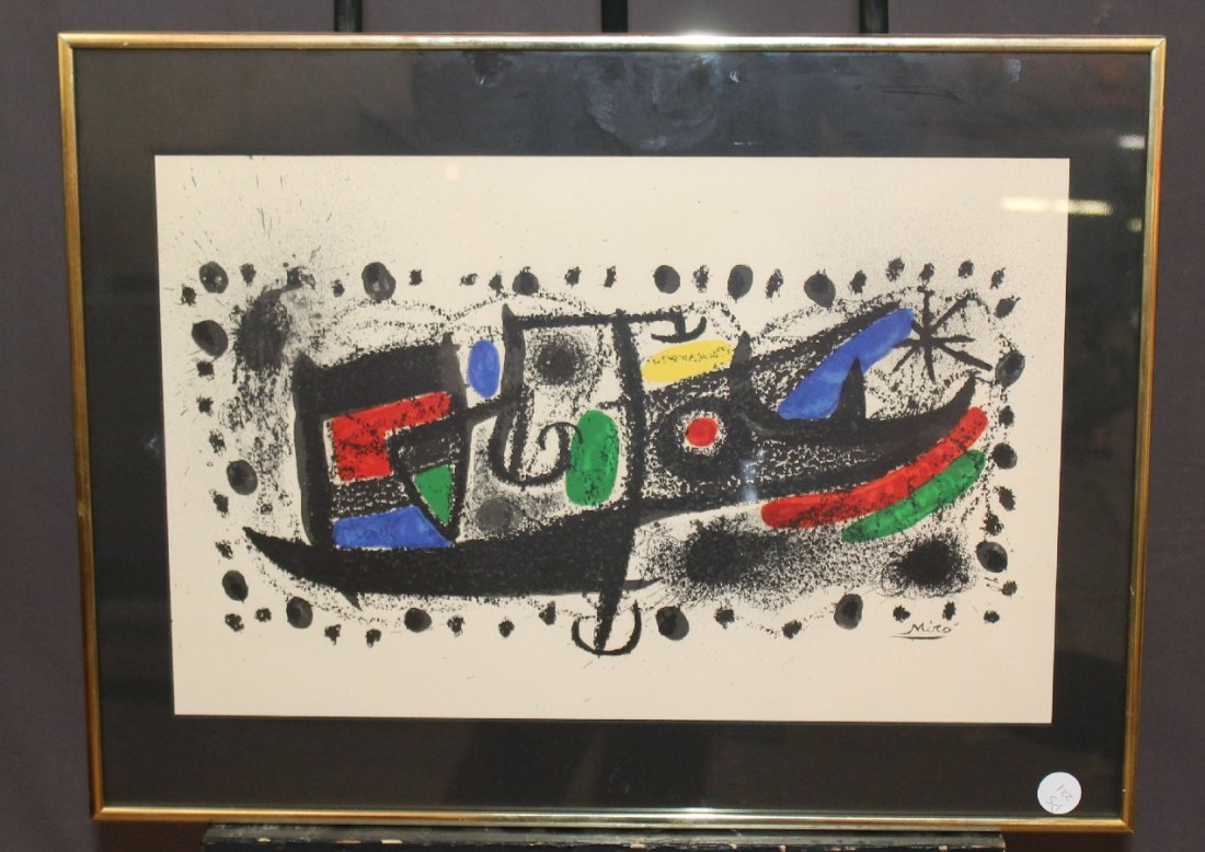 Joan Miro lithograph Star Scene signed in the stone