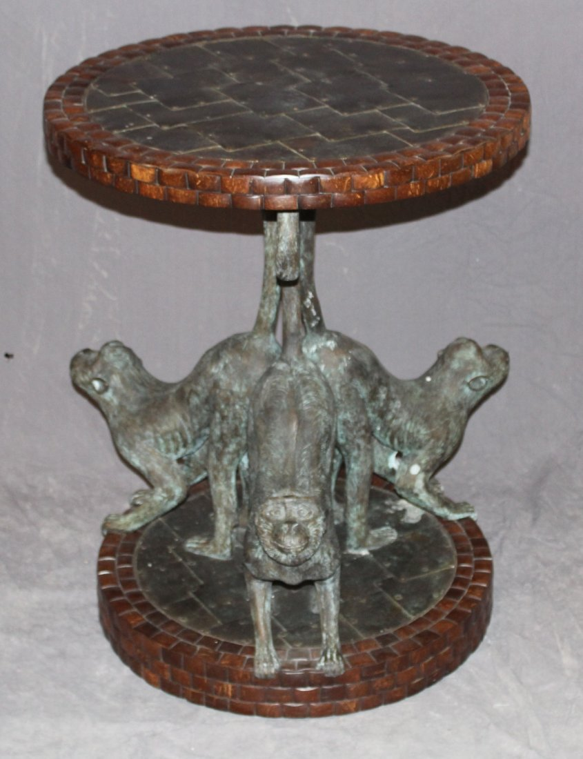 Smith bronze triple monkey base side table