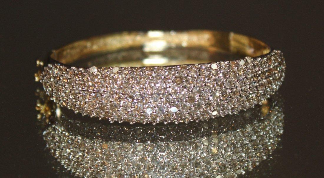 Ladies 14k two tone diamond bangle bracelet