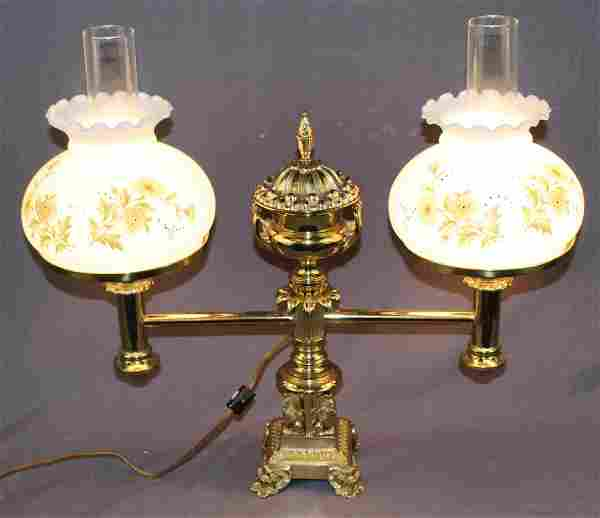 Victorian brass double student lamp