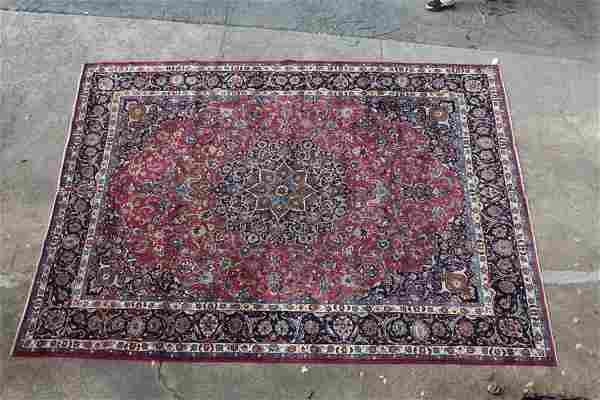 9.9 x 12.9 signed Persian Mashad rug