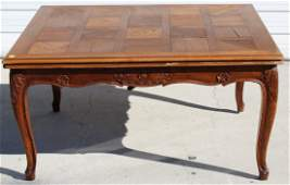 French Louis XV parquet top walnut table
