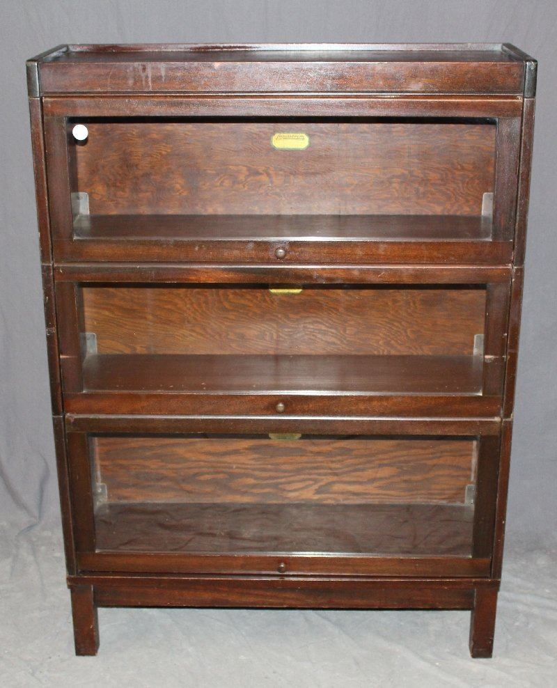 Lundstrom 3-stack mahogany barrister bookcase