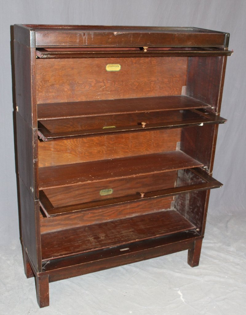 Lundstrom 3-stack mahogany barrister bookcase - 2