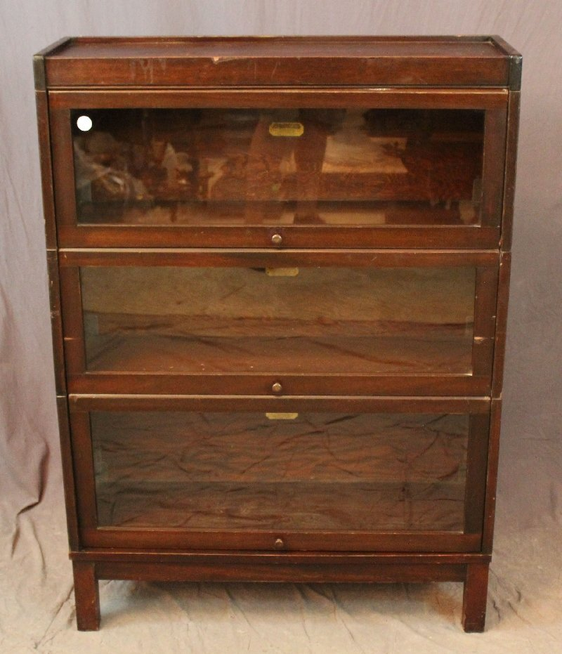 Lundstrom 3-stack mahogany barrister bookcase - 4