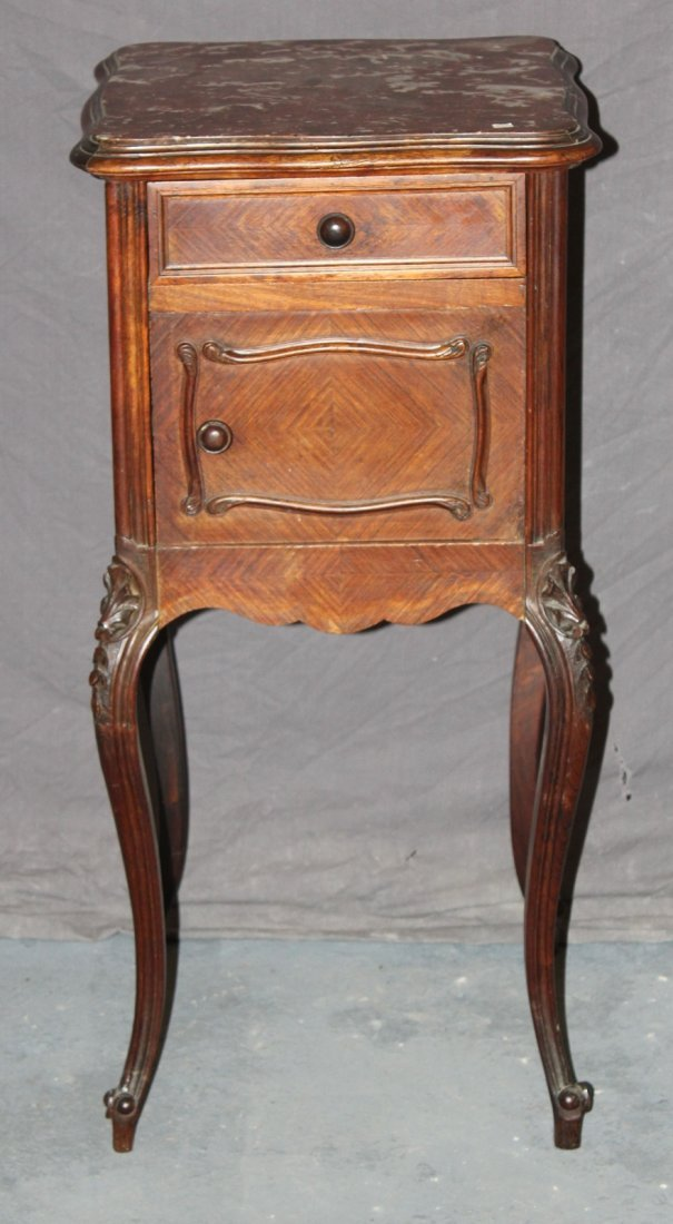 French Louis XV walnut chevet with marble