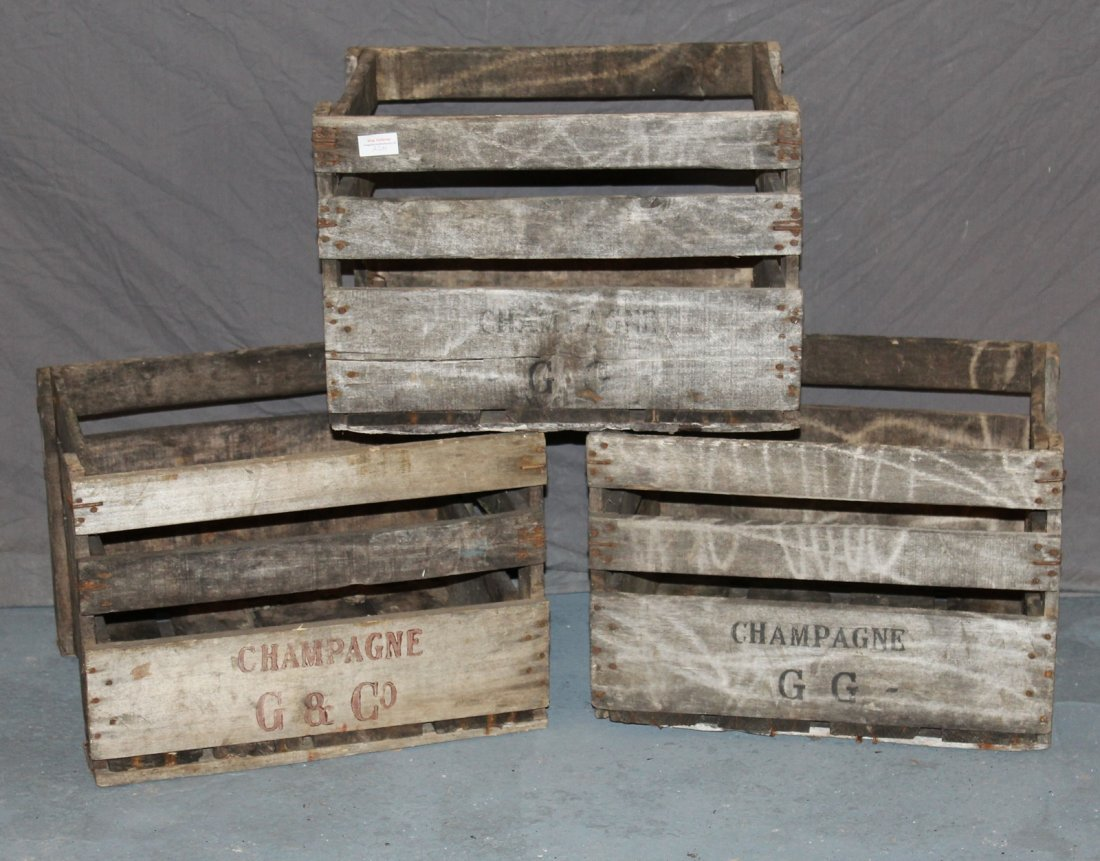 Lot of 3 French wooden wine bottles crates