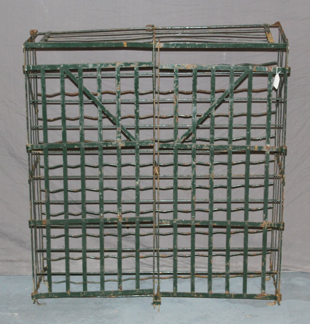 French iron double door wine cage from a cellar
