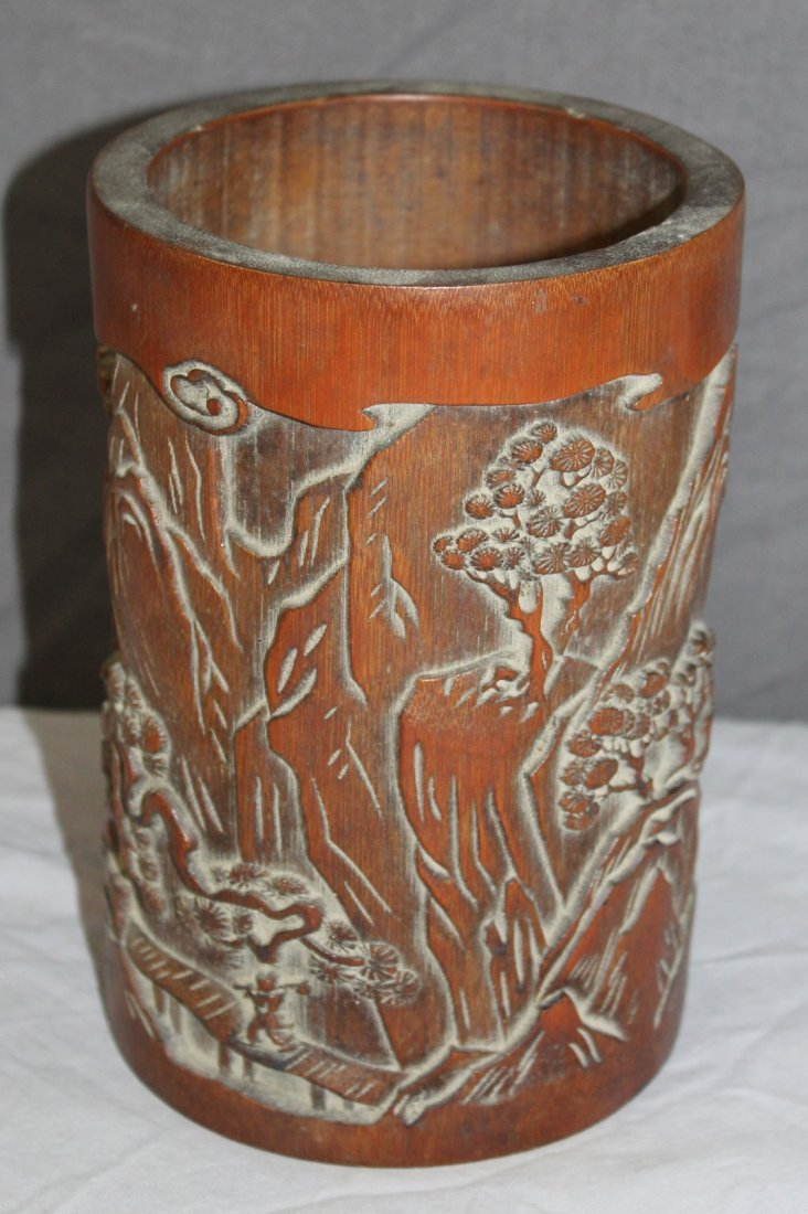 Chinese bamboo brush pot with landscape scene