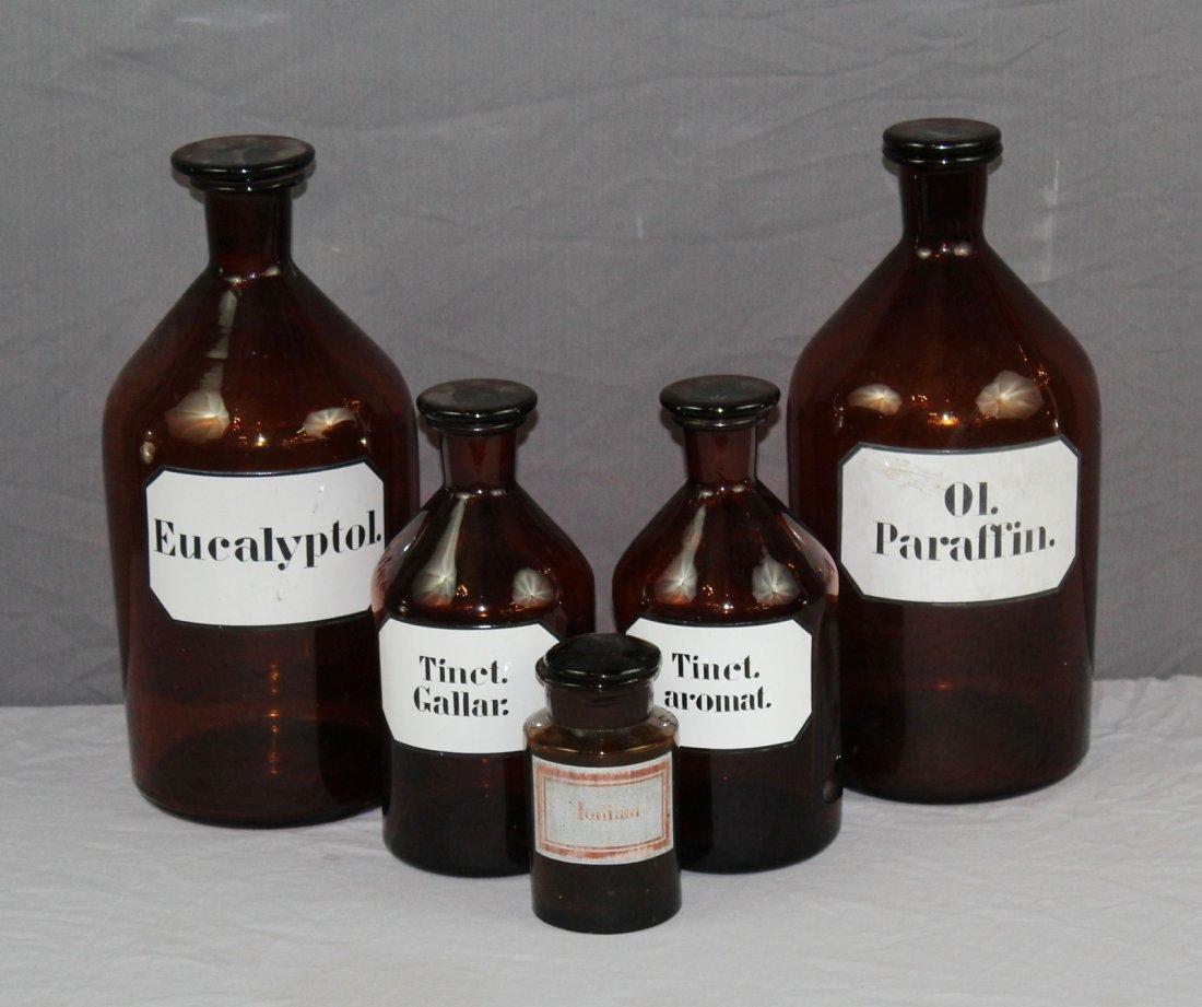 Lot of 5 antique French amber pharmacy bottles