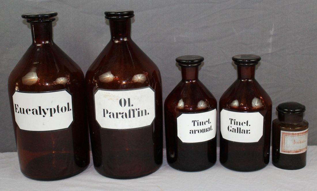 Lot of 5 antique French amber pharmacy bottles - 2