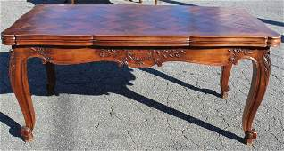 French Louis XV parquet top drawleaf table
