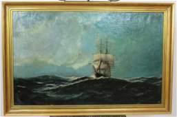Edward Hoyer (act 1870-1890) oil on canvas seascape