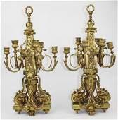 Pair of F. Barbedienne bronze 6-arm candelabra