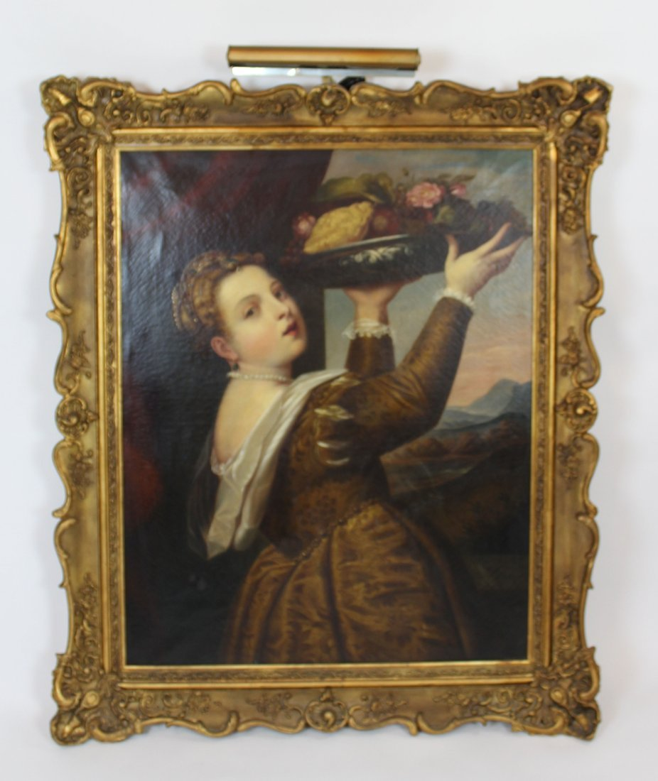After Titian Girl with basket of fruit oil on canvas