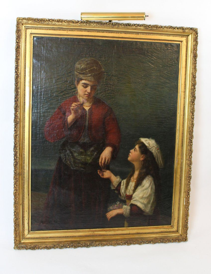 CF Tuttle (XIX) Oil on canvas woman with girl