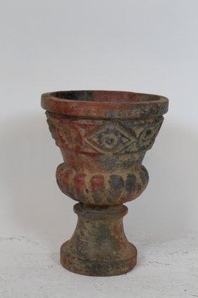Terra Cotta Urn With Raised Decoration