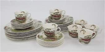 English Royal Staffordshire pottery service for 6