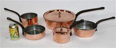 Lot of 5 French copper pots
