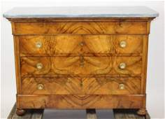 French Louis Philippe commode in burled walnut