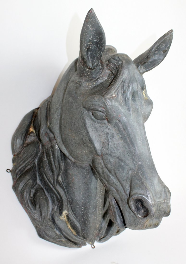 French advertising sign horse head in zinc