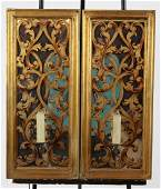 Pair of gilt acanthus scroll overlay wall sconces