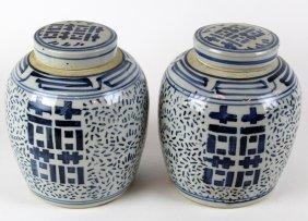 Pair Of Chinese Blue & White Porcelain Ginger Jars