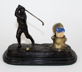 Bronze Golfer Sculpture With Matches Holder
