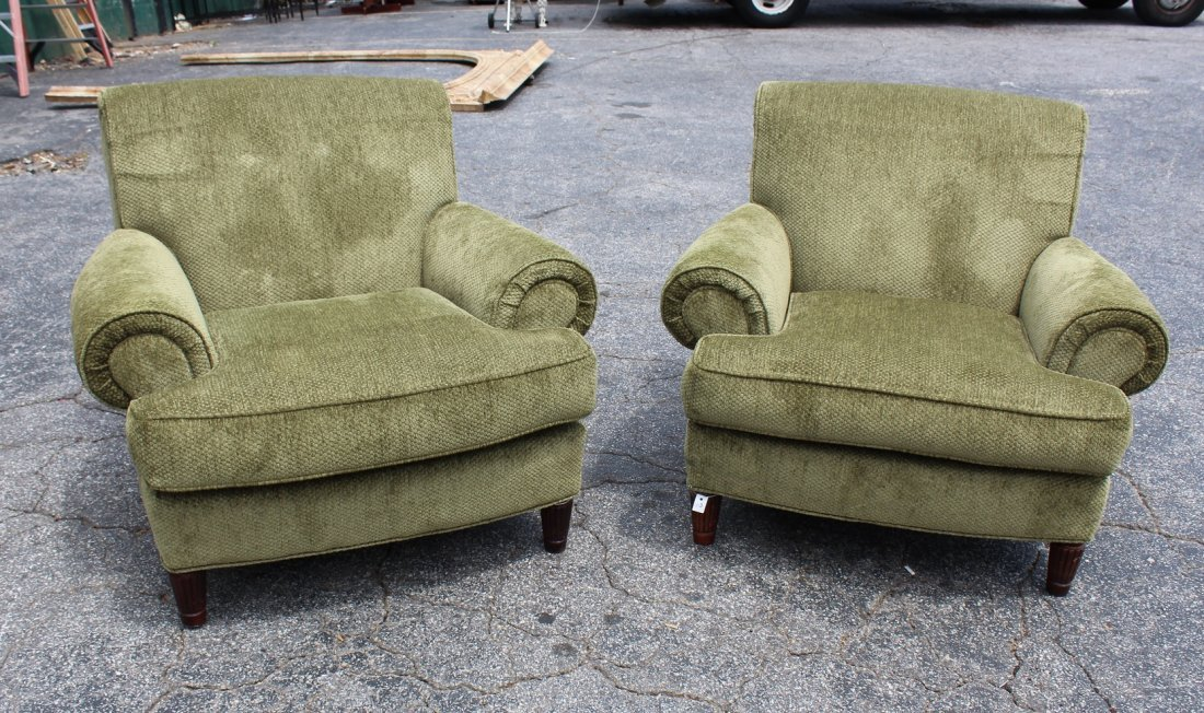 Pair of green chenille armchairs