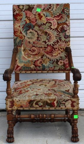 French Louis Xiii Carved Walnut Fauteuil (armchair)