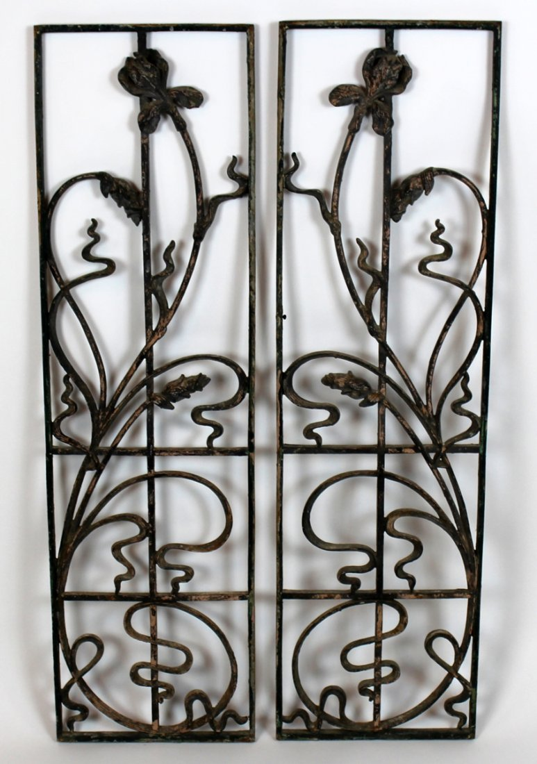 Pair of French Art Nouveau forged iron plaques