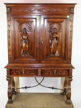 Spanish Revival Figural 2 Door Wine Cabinet