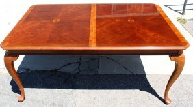 Mahogany Inlaid Dining Table With 2 Leaves