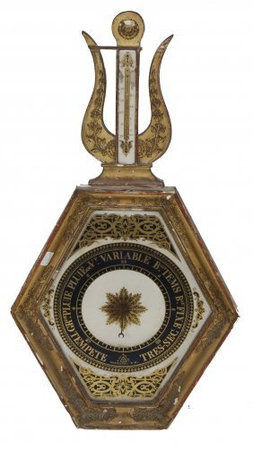 Antique French Empire Gilt Barometer Thermometer