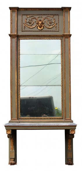 Grand Scale French Empire Pier Mirror With Console