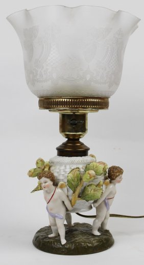 19th C. Porcelain Lamp Cherubs Holding Basket