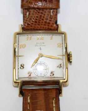 Vintage Elgin Deluxe Watch With Leather Band