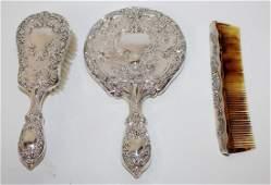 Gorham sterling silver 3 piece vanity set