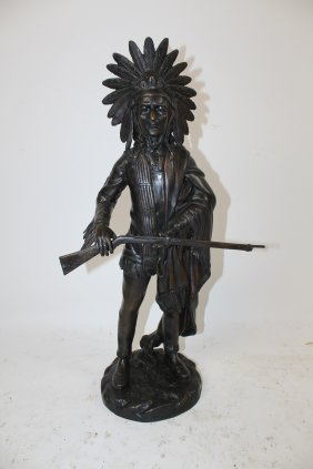 Bronze Indian Chief With Rifle