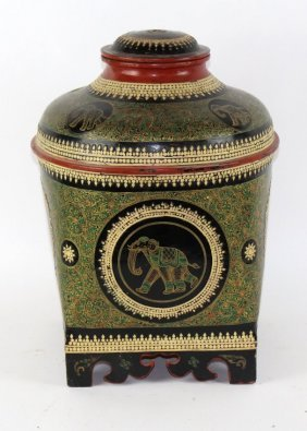 Indian Lacquered Box With Elephant