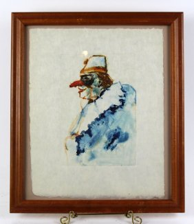 James Yarbrough Watercolor Painting Of Clown
