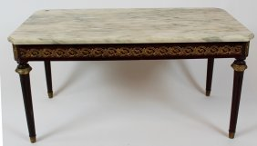 French Lxvi Style Cocktail Table With Marble Top