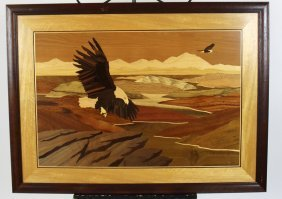 Marquetry Panel Of Soaring Eagle