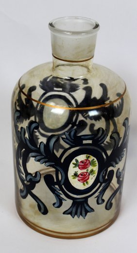 Antique Hand Painted Apothecary Bottle